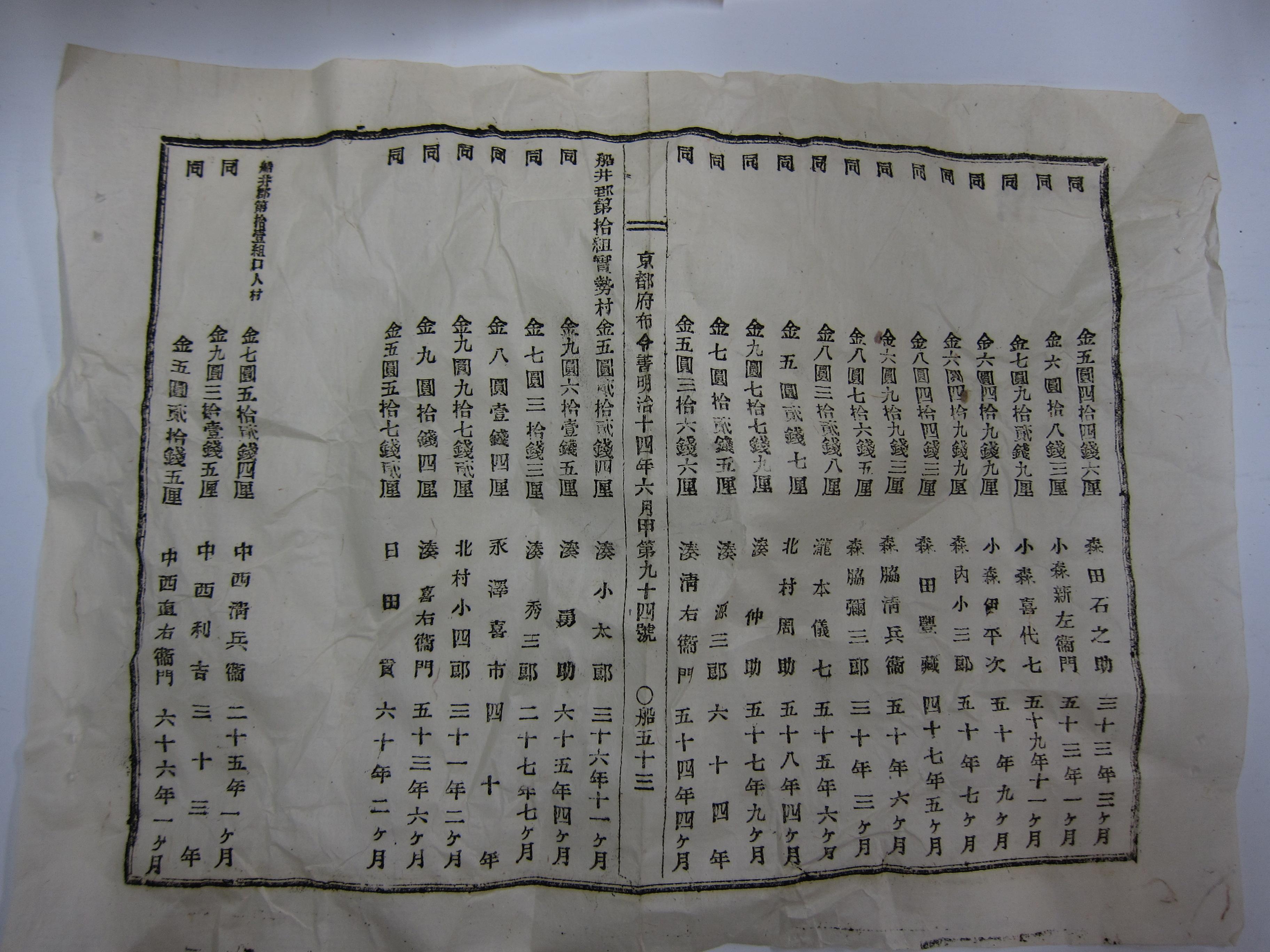 京都府布令書明治14年6月甲第94号 船53